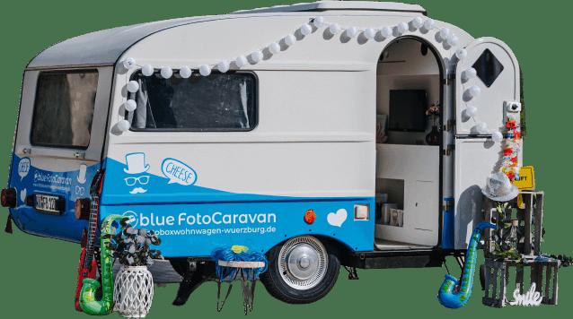 Seitenansicht des blue FotoCaravans